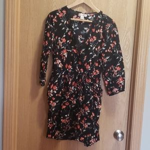 Band of Gypsies black coral floral faux wrap dress